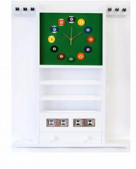 Porte Queues Billard Horloge Et Compteur Blanc en Bois - 97cm x 73cm