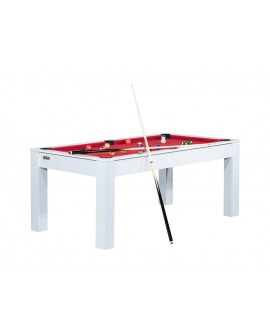 Table billard convertible 6ft Delhi blanc rouge
