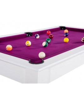 Table billard convertible 6ft Delhi blanc boisé prune