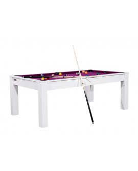 Table billard convertible 7ft Louxor blanc boisé prune