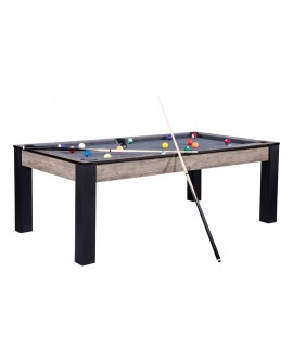 Table billard convertible 7ft Louxor industriel tapis gris chiné