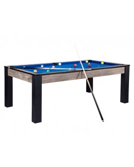 Table billard convertible 7ft Louxor industriel bleu