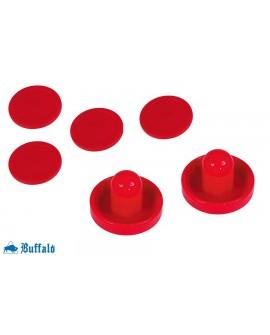 Lot de 2 Poignées et 4 palets ronds Rouges Buffalo pour Air Hockey