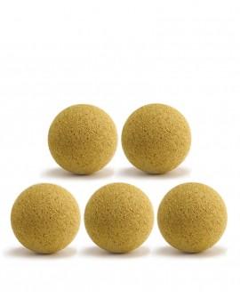 Balles de baby-foot jaunes en liège x5