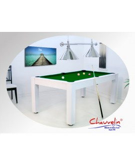 Table billard convertible Delhi blanc vert