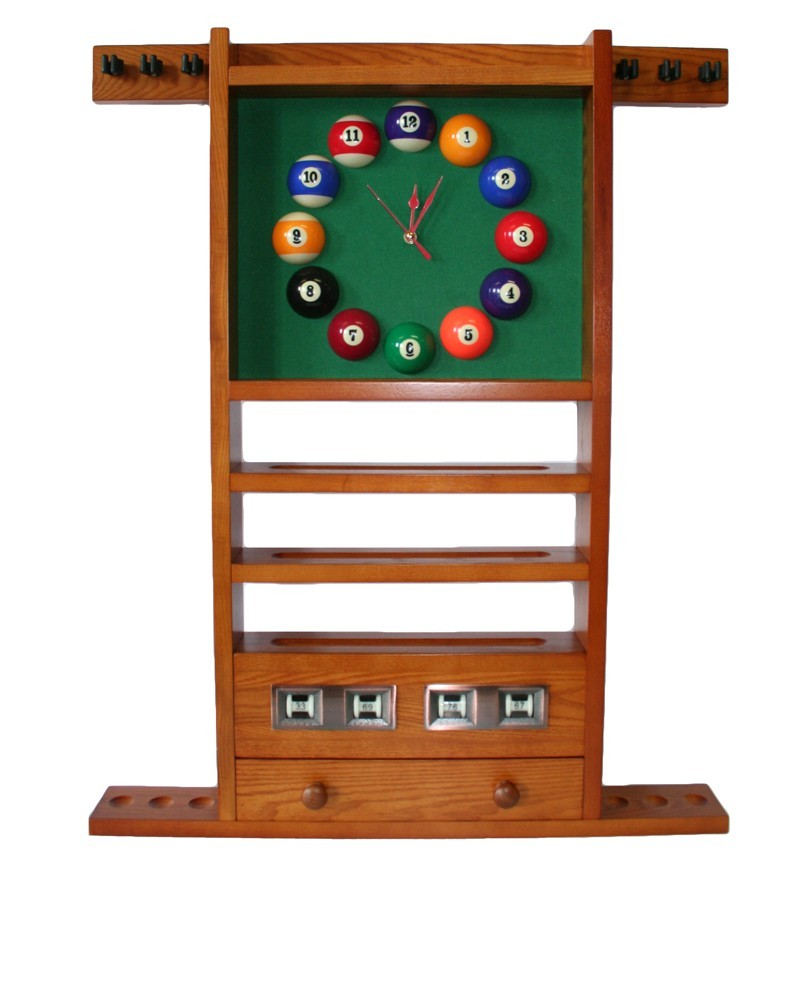Porte queues billard horloge et compteur teinte ch ne dor for Porte queue billard moderne