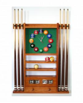 Porte-queues de billard horloge compteur chêne doré