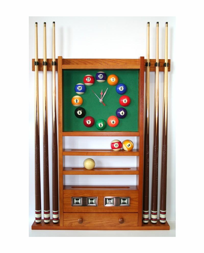 Porte Queues Billard Horloge Et Compteur Teinte Ch/êne dor/é en Bois Bois 97cm x 73cm