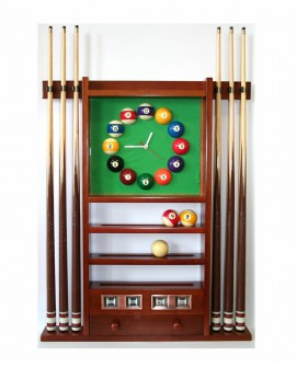 Porte-queues de billard horloge compteur noyer