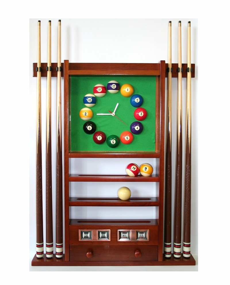 Porte queues billard horloge et compteur teinte noyer en for Dimension queue de billard