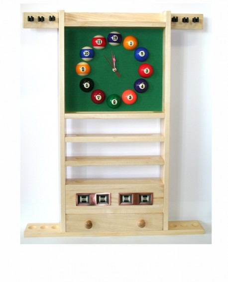 porte queues billard horloge et compteur teinte ch ne clair en bois 85cm x 69cm pas cher. Black Bedroom Furniture Sets. Home Design Ideas