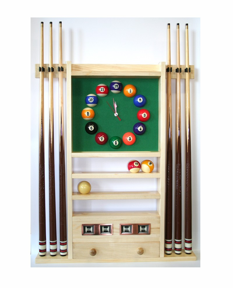 porte queues billard horloge et compteur teinte ch ne. Black Bedroom Furniture Sets. Home Design Ideas